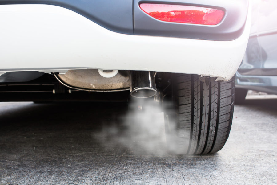 Pipe exhaust car smoke emission, concern about environment problem