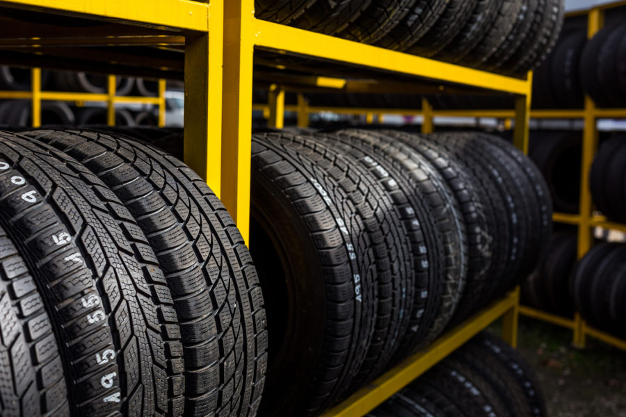 Tires for sale at a tire store